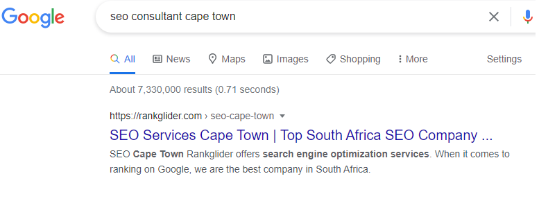Rankglider ranking page 1 in Cape Town for SEO Consultant